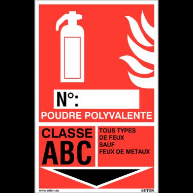 Panneaux d'identification extincteurs - Poudre polyvalente, classe ABC