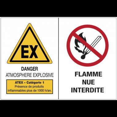Panneaux ATEX Catégorie 1 avec symboles - Atmosphère explosive - Flammes nues interdites