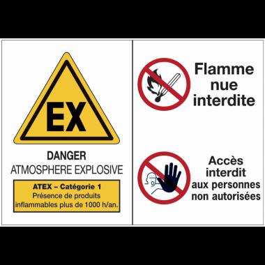 Panneaux ATEX Catégorie 1 avec symboles - Atmosphère explosive - Flammes nues interdites - Accès interdit aux personnes non autorisées