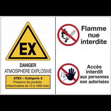 Panneaux ATEX Catégorie 2 avec symboles - Atmosphère explosive - Flammes nues interdites - Accès interdit aux personnes non autorisées