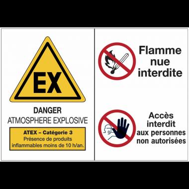 Panneaux ATEX Catégorie 3 avec symboles - Atmosphère explosive - Flammes nues interdites - Accès interdit aux personnes non autorisées