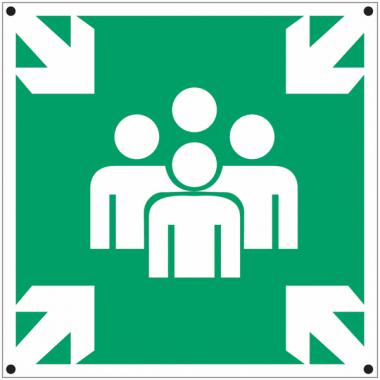 """Panneaux en aluminium """"Point de rassemblement après évacuation"""""""
