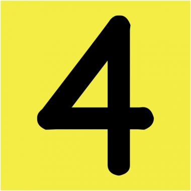 """Plaques signalétiques colorées adhésives """"Chiffre 4"""""""