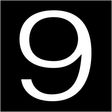 """Plaques signalétiques colorées adhésives """"Chiffre 9"""""""