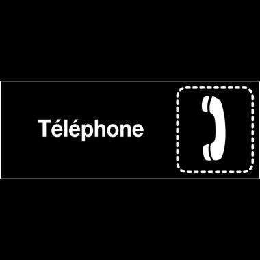"""Plaques signalétiques colorées adhésives """"Téléphone"""" avec texte"""