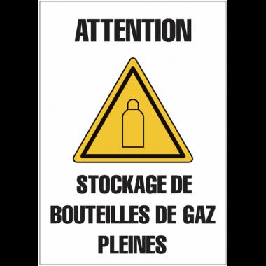 """Panneaux de signalisation """"Bouteille de gaz - Attention stockage de bouteilles de gaz pleines"""""""