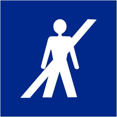 """Signalétique d'information murale ou en drapeau """"Interdit aux piétons"""""""