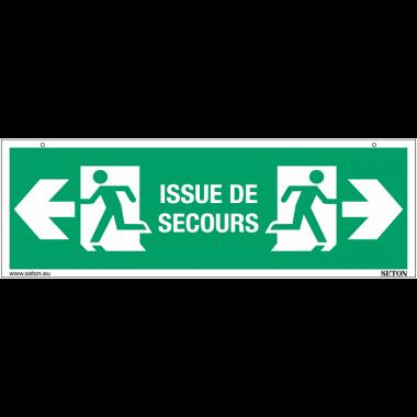 """Panneaux suspendus d'évacuation """"Homme qui court, flèche à gauche - Issue de secours"""""""
