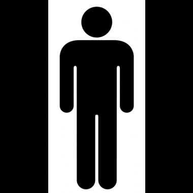 """Autocollants d'information transparents """"Toilettes homme"""" design"""