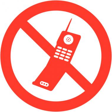 """Autocollants d'information transparents """"Interdiction d'activer des téléphones mobiles"""""""