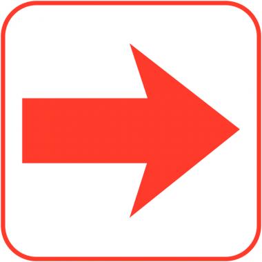 """Autocollants d'information transparents """"Flèche directionnelle 90°"""""""