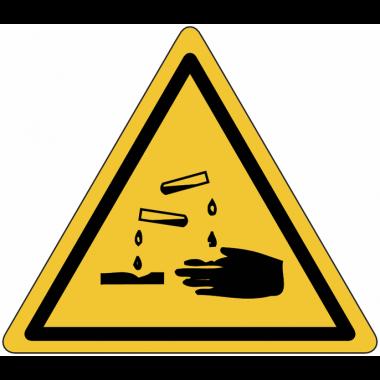 """Planches d'autocollants de danger """"Substances corrosives"""""""