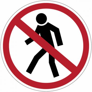 """Planches d'autocollants d'interdiction """"Interdit aux piétons"""""""