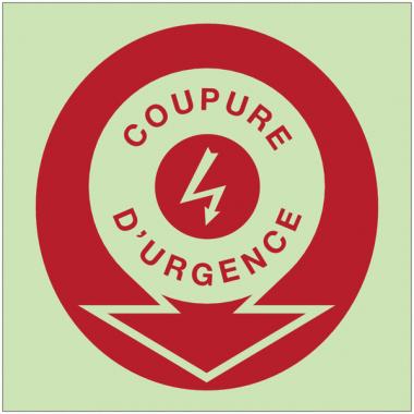 """Panneaux d'incendie photoluminescents fléchés """"Danger électricité - Coupure d'urgence"""""""