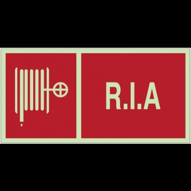 """Panneaux d'incendie photoluminescents """"R.I.A."""" avec texte"""