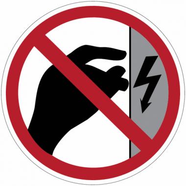 """Panneaux d'interdiction """"Danger électrique, ne pas toucher, boîtier sous tension"""""""