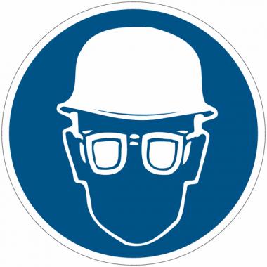 """Panneaux d'obligation """"Casque et lunettes de sécurité obligatoires"""""""