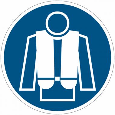 """Panneaux d'obligation """"Port du gilet de sauvetage obligatoire"""""""