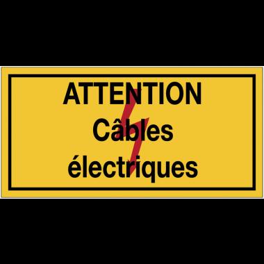 Panneaux de danger électrique rectangulaires - Attention câbles électriques