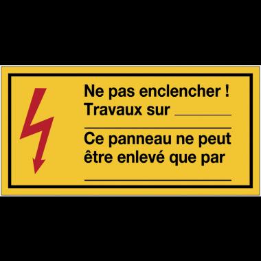 Panneaux de danger électrique rectangulaires à compléter