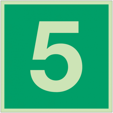 """Panneaux d'évacuation et de secours """"Niveau, étage 5"""""""