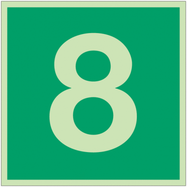 """Panneaux d'évacuation et de secours """"Niveau, étage 8"""""""