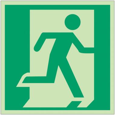 """Panneaux d'évacuation et de secours """"Sortie de secours (à droite)"""""""