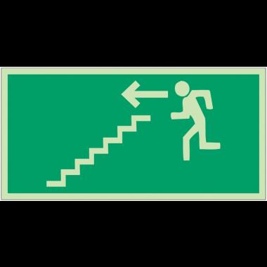 """Panneaux d'évacuation et de secours """"Homme qui descend l'escalier, flèche à gauche"""""""