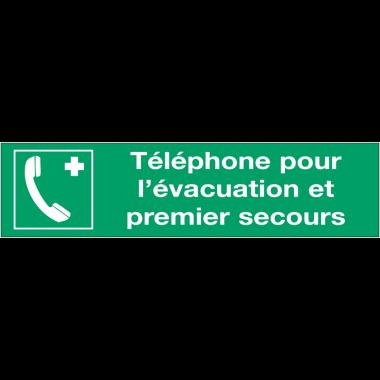 Panneaux d'évacuation - Téléphone pour l'évacuation et premier secours