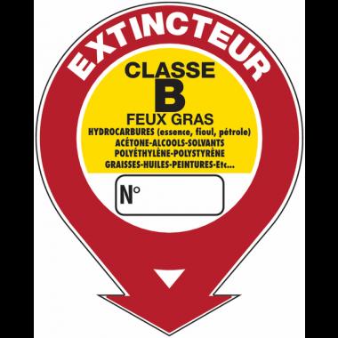 """Panneaux de sécurité et incendie ronds fléchés à compléter """"Extincteur d'incendie - classe B"""""""