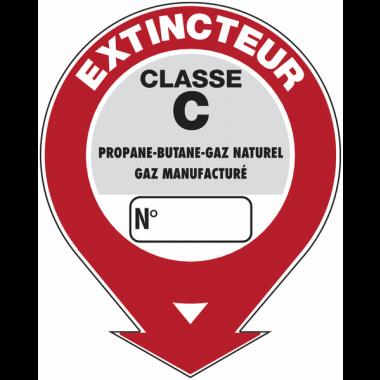 """Panneaux de sécurité et incendie ronds fléchés à compléter """"Extincteur d'incendie - classe C"""""""