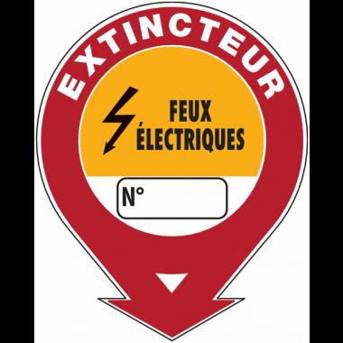 """Panneaux de sécurité et incendie ronds fléchés à compléter """"Extincteur d'incendie - feux électriques"""""""