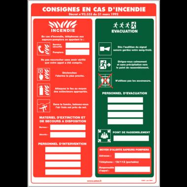 Affichage obligatoire à compléter - Consignes en cas d'incendie