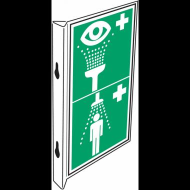 """Panneaux d'évacuation combinés """"Equipement de rinçage des yeux - Douche de sécurité"""""""