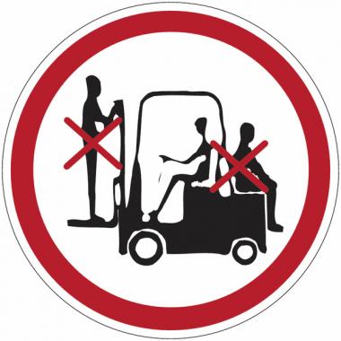 """Mini-pictogrammes d'interdiction """"Passagers interdits sur le chariot élévateur"""" en rouleau"""