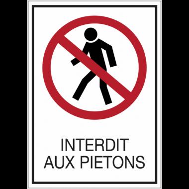 Panneau en drapeau pour poteau en acier - Interdit aux piétons