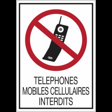 Panneaux de signalisation de sécurité standards - Téléphones mobiles cellulaires interdits