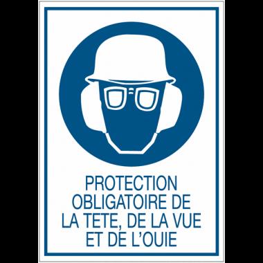 Panneaux de signalisation de sécurité standards - Protection obligatoire de la tête, de la vue et de l'ouïe
