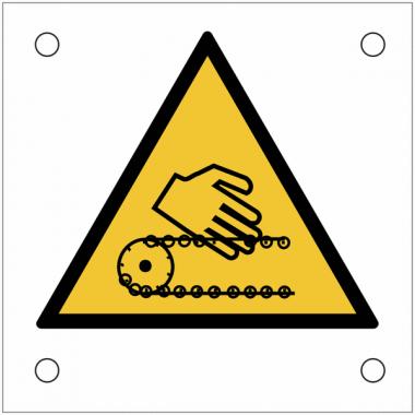 """Plaques de signalisation pour machines """"Risque d'écrasement, chaîne en mouvement"""""""