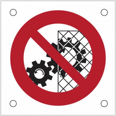"""Plaques de signalisation pour machines """"Interdiction d'enlever la grille de protection"""""""