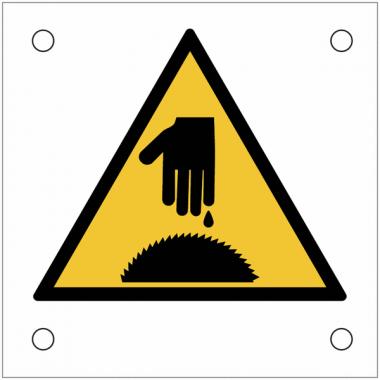 """Plaques de signalisation pour machines """"Danger, scie circulaire, risque de coupure de la main"""""""