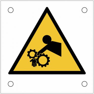 """Plaques de signalisation pour machines """"Danger, risque d'entraînement du bras dans l'engrenage"""""""