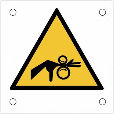 """Plaques de signalisation pour machines """"Danger, risque d'entraînement horizontal de la main dans le roulement"""""""