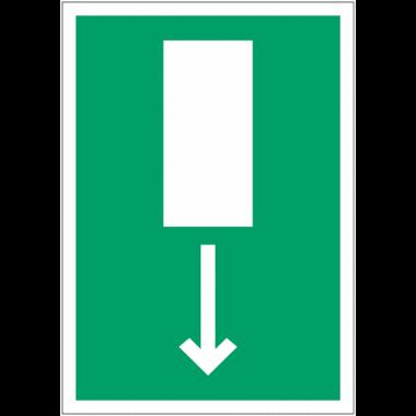 """Pictogramme prestige sur aluminium """"Issue de secours, flèche directionnelle en bas ou en haut"""""""