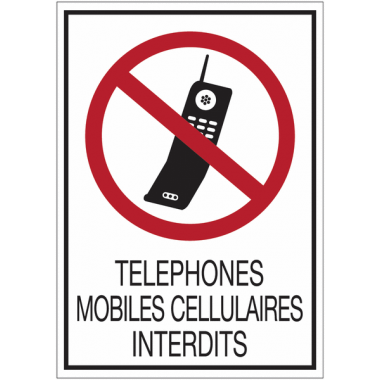 Panneaux rigides adhésifs - Téléphones mobiles cellulaires interdits