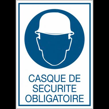 Panneaux rigides adhésifs - Casque de securité obligatoire
