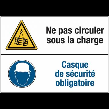 Panneaux duos - Ne pas circuler sous la charge - Casque de sécurité obligatoire