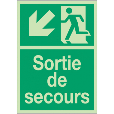 """Panneaux de Sortie de secours photoluminescent """"Homme qui descend, flèche à gauche"""""""