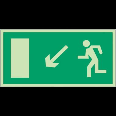 """Panneaux d'évacuation et de secours """"Homme qui descend, flèche à gauche"""""""