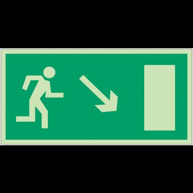 """Panneaux d'évacuation et de secours """"Homme qui descend, flèche à droite"""""""